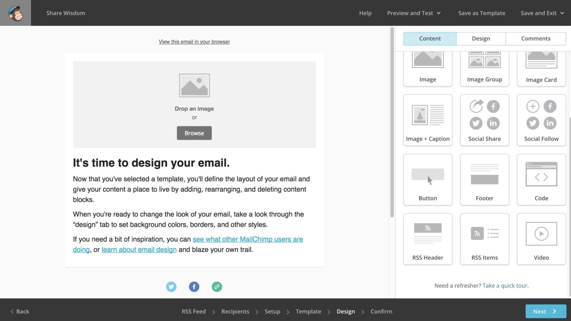 Mailchimp design screen