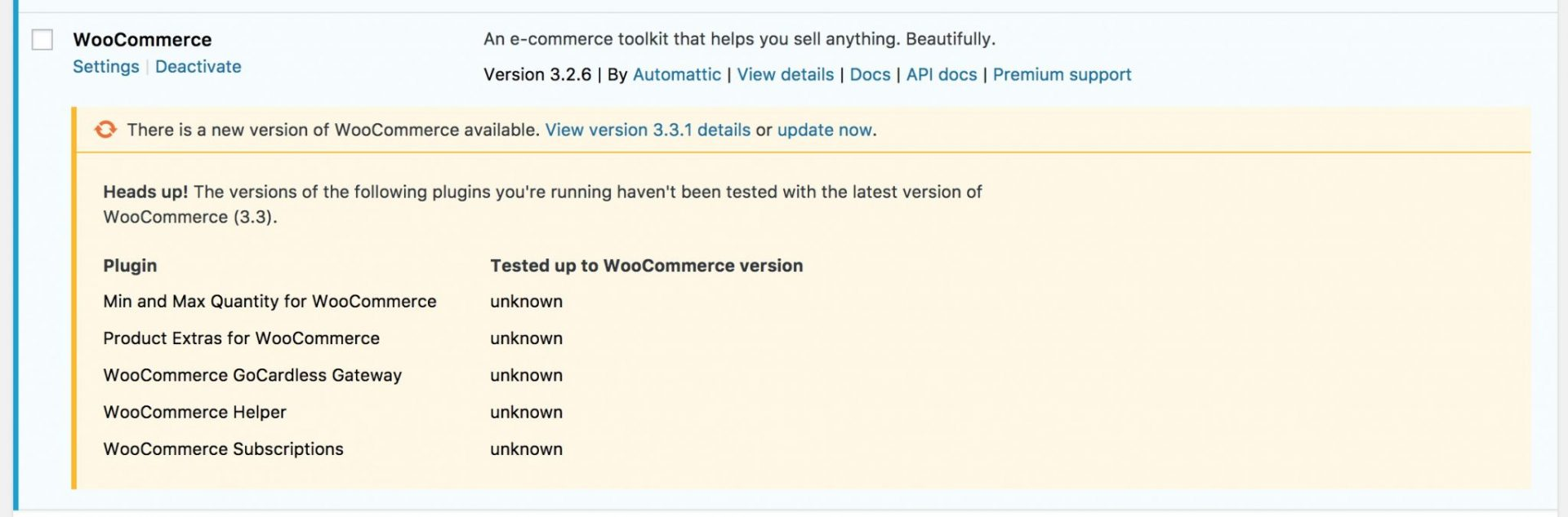 WordPress plugin update notice
